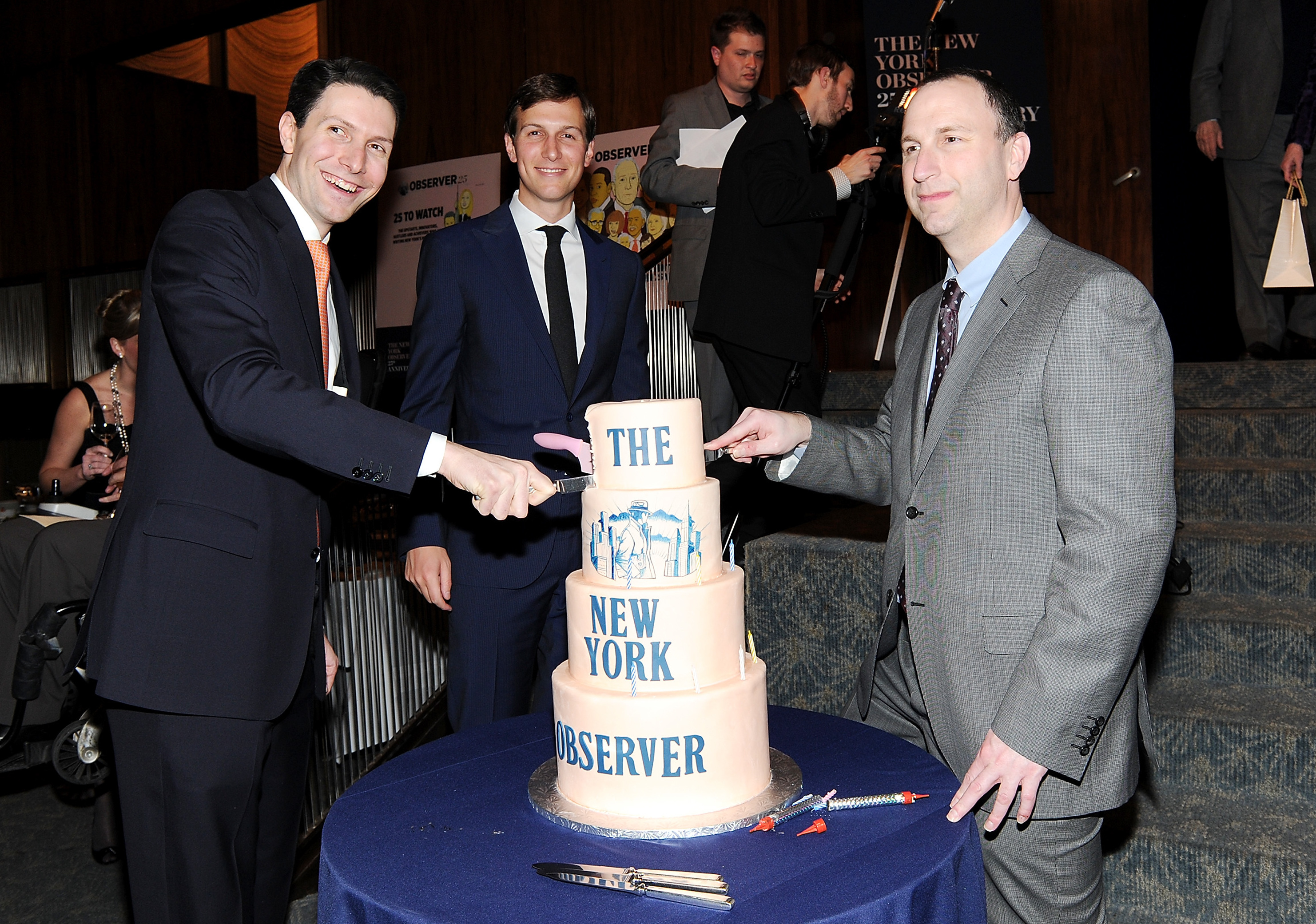 New York Observer publisher Jared Kushner (center), along with CEO Joseph Meyer (left) and editor Ken Kurson, attends The New York Observer's 25th anniversary party in New York in 2013. Evan Agostini/Invision/AP.