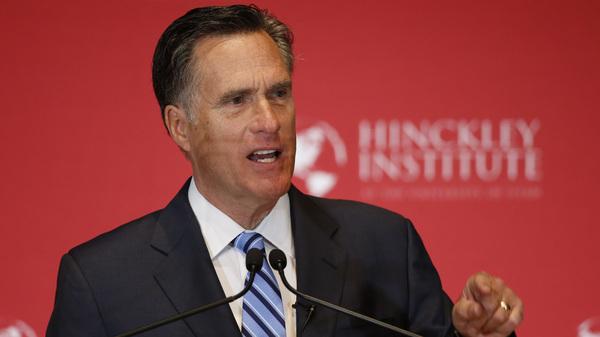 Former Massachusetts Gov. Mitt Romney argues against Donald Trump's nomination as the GOP presidential candidate on March 3 in Salt Lake City, Utah.