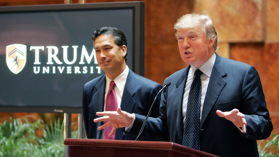 Donald Trump at a 2005 news conference about Trump University. Now, the New York attorney general says Trump has agreed to a $25 million settlement with over 6,000 plaintiffs who said the university had defrauded them. (Mario Tama/Getty Images)
