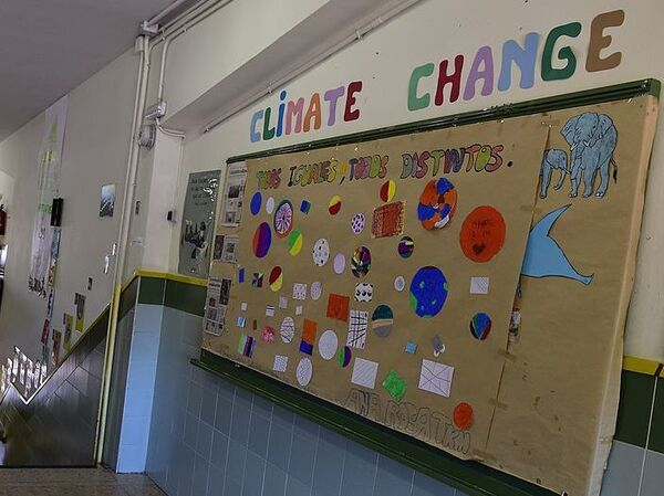 "A bulletin board reads ""Climate Change"" at the Doctor Tolosa Latour public school in Madrid. How might climate change education look in the U.S. during a Trump presidency?"