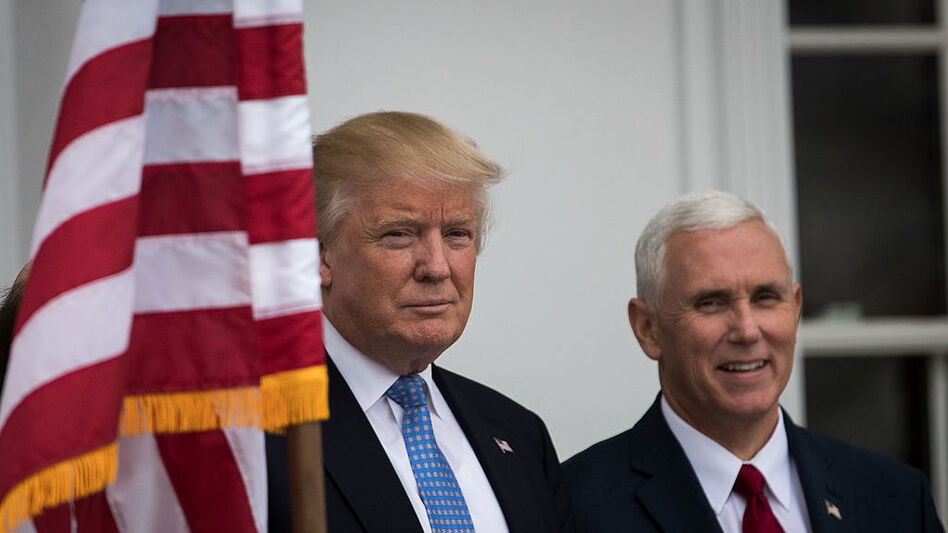 President-elect Donald Trump and vice president-elect Mike Pence at Trump International Golf Club in Bedminster Township, New Jersey. (Getty Images)