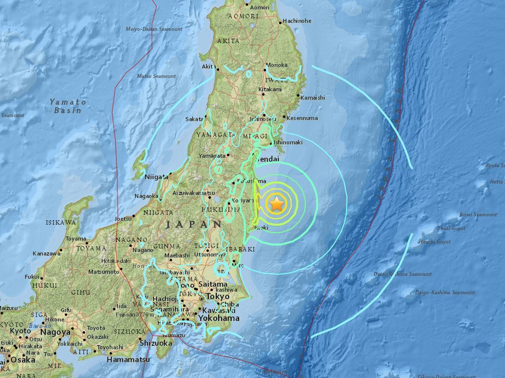 Tsunami warning issued after quake off Fukushima in Japan