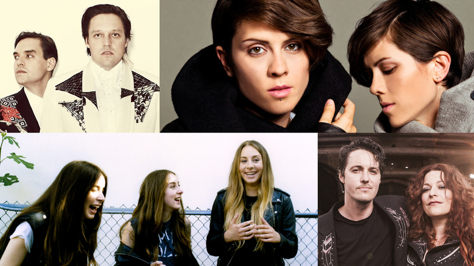 Clockwise from upper left: Arcade Fire by Guy Aroch, Tegan And Sara, Shovels & Rope by Leslie Ryann Mckellar, HAIM by Tom Beard (Courtesy of the artists)