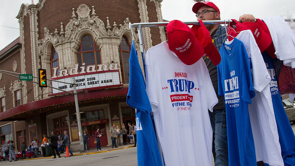 Vendors congregated outside a rally for Republican presidential candidate Donald Trump at the Indiana Theater on May 1, 2016 in Terre Haute, Indiana. (Charles Ledford/Getty Images)