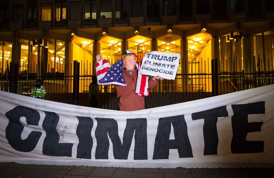 A protester dressed as Donald Trump demonstrates outside the U.S. Embassy in London. (Dominic Lipinski/PA Images via Getty Images)