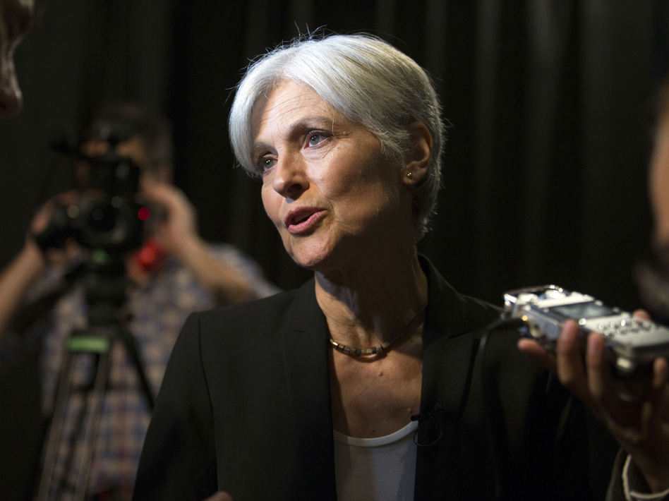 Green party presidential candidate Jill Stein answers questions from members of the media on Oct. 6 in Oakland, Calif. (D. Ross Cameron/AP)