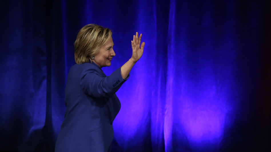 Hillary Clinton leaves after speaking at the Children's Defense Fund Beat the Odds Celebration at the Newseum in Washington on Nov. 16. It was her first speech since losing the presidential election. (Yuri Gripas/AFP/Getty Images)