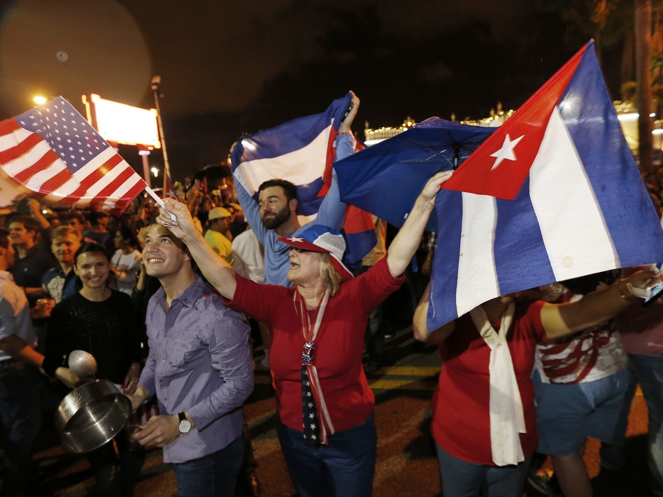 Cuban-Americans celebrate upon hearing about the death of longtime Cuban leader Fidel Castro in the Little Havana neighborhood of Miami, Fla., on Saturday. (AFP/AFP/Getty Images)