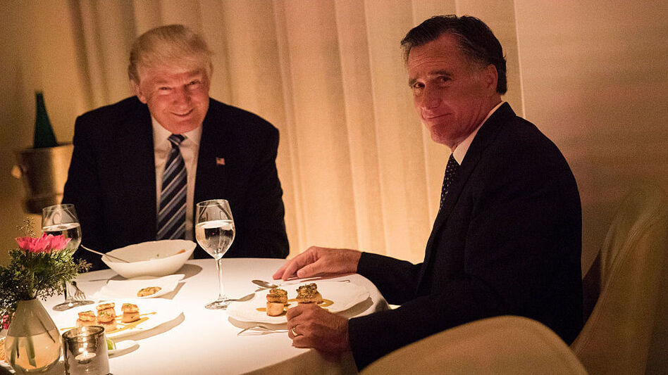 President-elect Donald Trump and Mitt Romney dine at Jean Georges restaurant on Tuesday evening. (Drew Angerer/Getty Images)