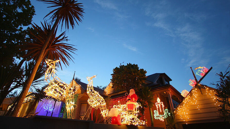 Christmas lights and decorations adorn a house in Auckland, New Zealand, in 2009.