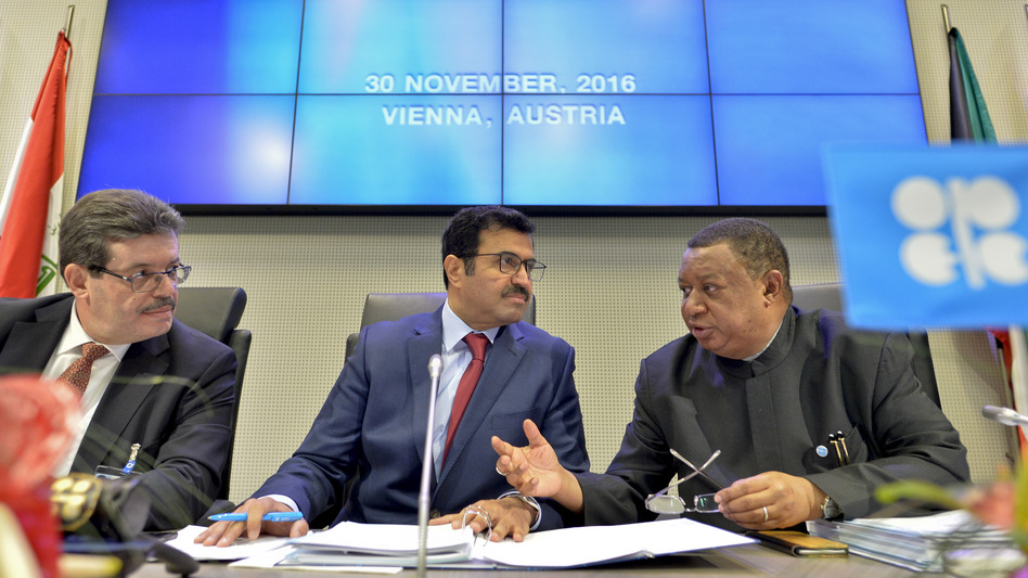 Mohamed Hamel (from left), the chairman of the OPEC Board of Governors; Mohammed Bin Saleh al-Sada, president of the OPEC conference; and OPEC Secretary General Mohammed Barkindo at a meeting of OPEC in Vienna on Wednesday. (Herbert Neubauer/AFP/Getty Images)
