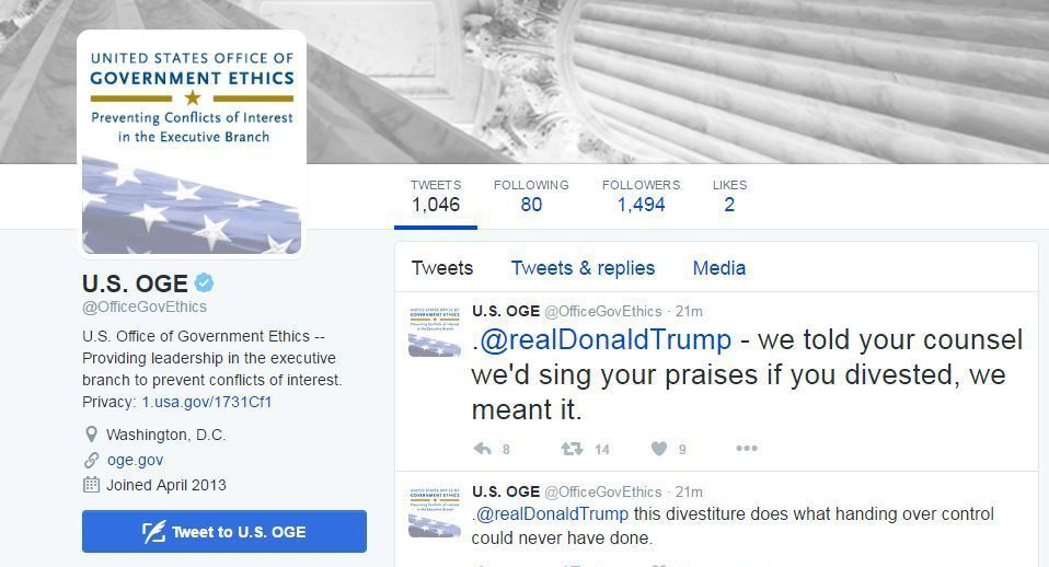 Not A Hack: U.S. Office Of Government Ethics Tweets At Trump