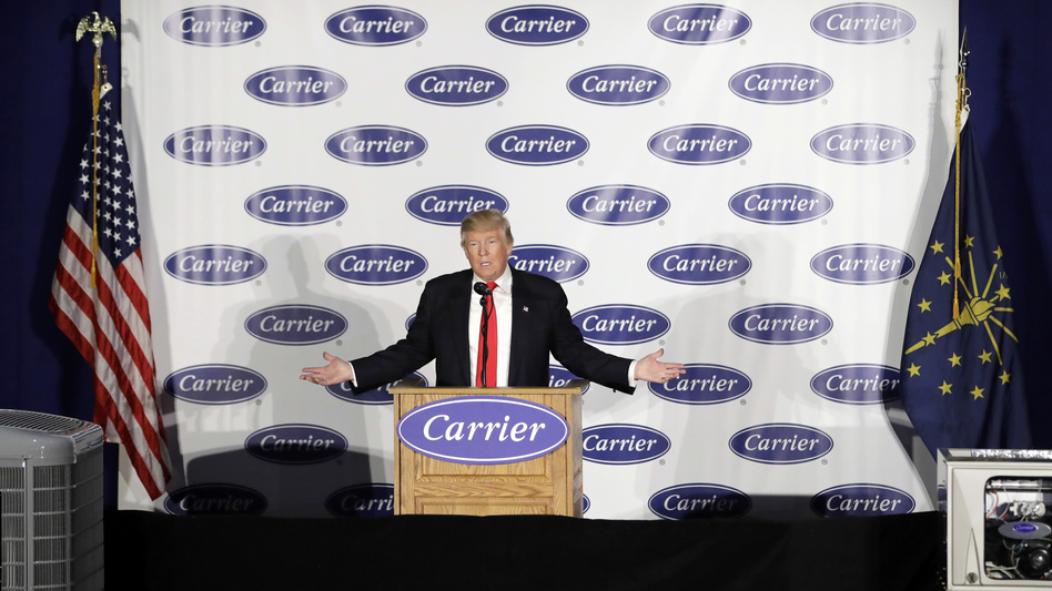 President-elect Donald Trump speaks at Carrier Corp. on Thursday, in Indianapolis. (Darron Cummings/AP)