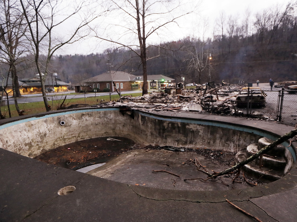 A swimming pool in a motel complex in Gatlinburg, Tenn. (Mark Humphrey/AP)
