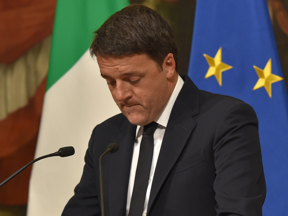 Italian Prime Minister Matteo Renzi announces his resignation during a press conference in Rome, after the results of Sunday's referendum on constitutional reforms. (Andreas Solaro/AFP/Getty Images)