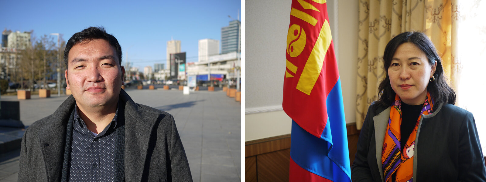 (Left) Mogi Bontoi runs the market intelligence firm Cover Mongolia. He says the country is likely to default on billions of dollars' worth of loans. (Right) Undraa Agvaanluvsan, elected to Mongolia's parliament in June, vows to help Mongolia climb out of its massive debt problem. Rob Schmitz/NPR