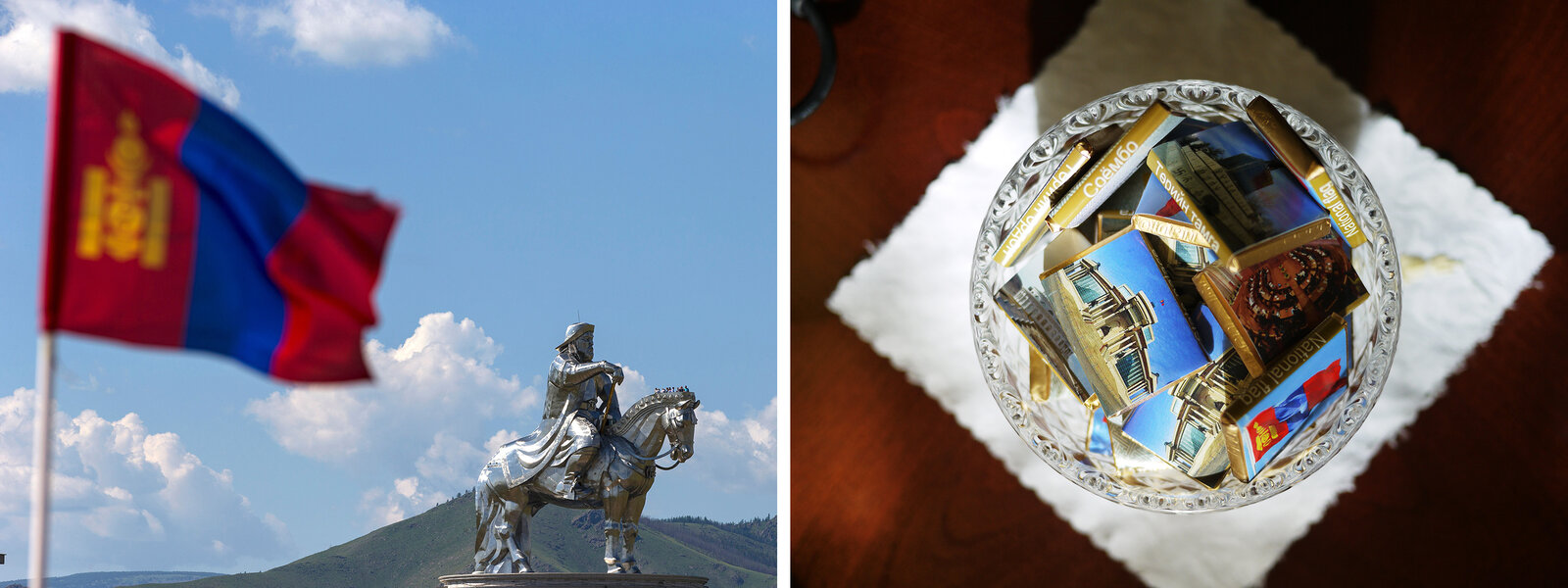 (Left) A Mongolian national flag flies near a Genghis Khan statue – the world's largest equestrian statue – in Tsonjin Boldog, Mongolia, on July 16. (Right) Chocolates are displayed for visitors to Mongolia's Government Palace in Ulaanbaatar.     Joel Saget/AFP/Getty Images and Rob Schmitz/NPR.