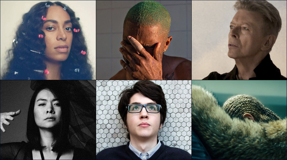 Top row, left to right: Solange, David Bowie, Leonard Cohen; Middle row, left to right: Mitski, Bon Iver, Frank Ocean; Bottom row, left to right: Anohni, Car Seat Headrest, Beyoncé. (Courtesy of the artists )
