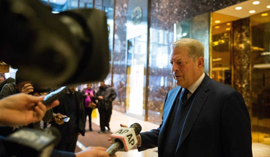 Former Vice President Al Gore talks to the media after meeting with President-elect Donald Trump at Trump Tower on Monday in New York City. (Kevin Hagen/Getty Images)