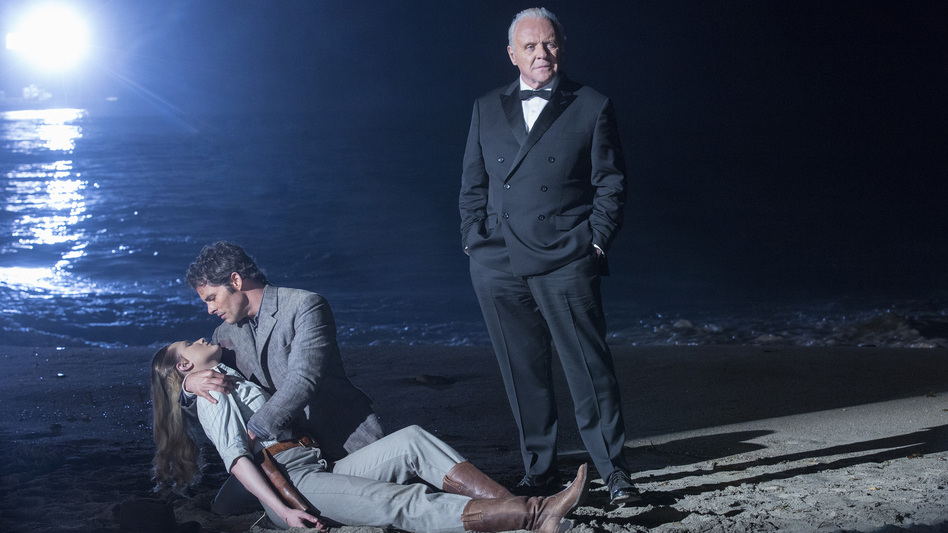 Do Androids Dream of Electric Lambs, Clarice? (L to R: Evan Rachel Wood, James Marsden and Anthony Hopkins in the season finale of HBO's <em>Westworld</em>).