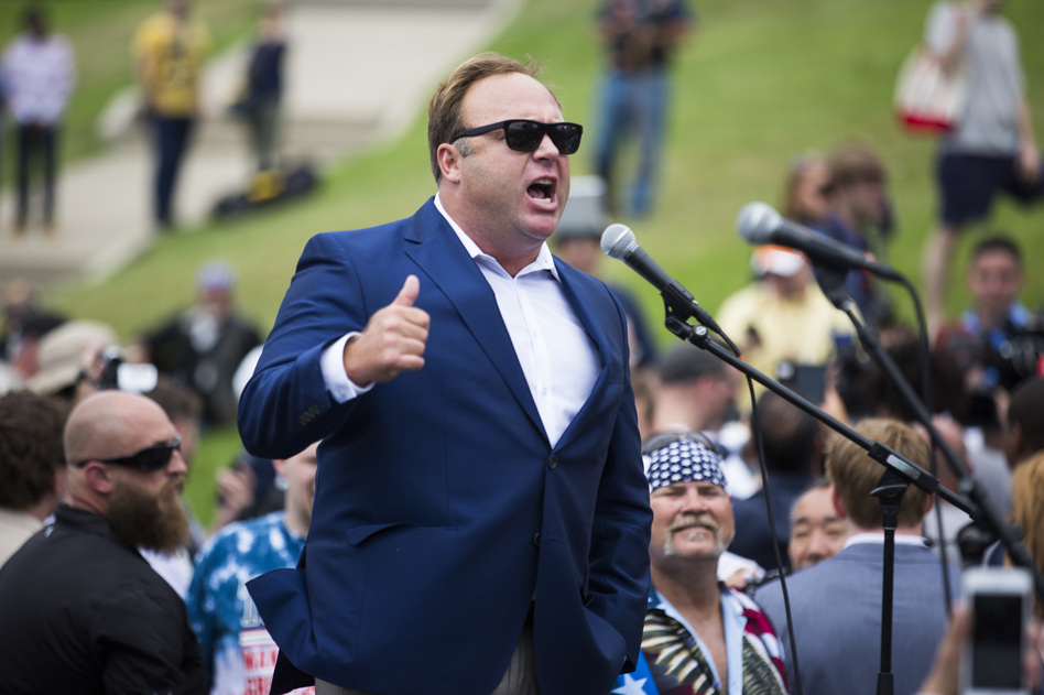 Radio talk show host Alex Jones speaks during a rally in support of Donald Trump near the Republican National Convention in Cleveland on July 18. (Brooks Kraft/Getty Images)