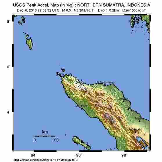 A map shows the epicenter of Wednesday's earthquake in Indonesia.