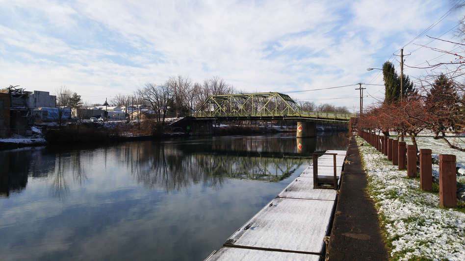 Locals in Seneca Falls, N.Y., say this bridge in their small town was the model for the bridge in the fictional Bedford Falls in Frank Capra's <em>It's A Wonderful Life</em>, where George Bailey (played by Jimmy Stewart) thinks about ending his life. (Brian Mann/North Country Public Radio)