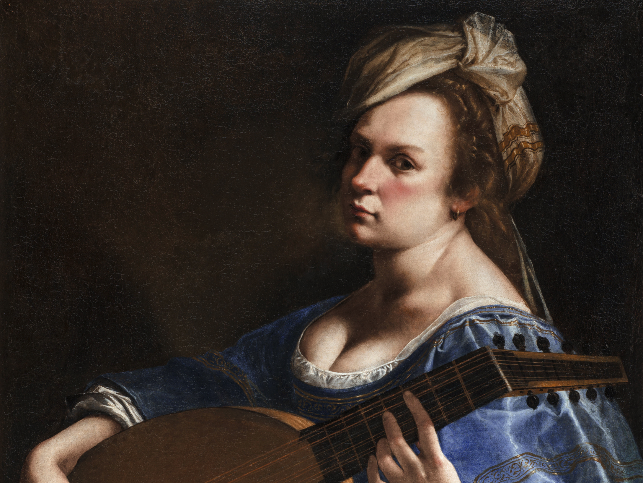 Artemisia Gentileschi painted this Self-Portrait as a Lute Player during her years living in Florence. Palazzo Braschi