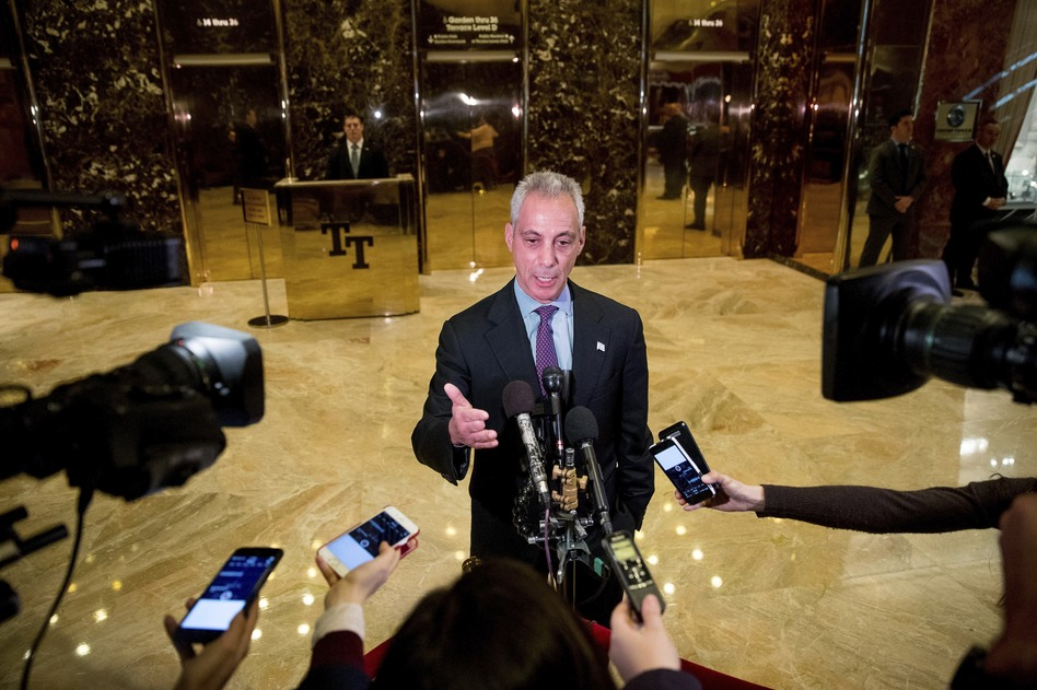 Chicago Mayor Rahm Emanuel speaks with members of the media after meeting with President-elect Donald Trump at Trump Tower in New York on Wednesday. (Andrew Harnik/AP)