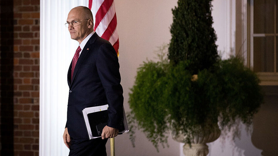 Andrew Puzder, chief executive of CKE Restaurants, exits after his meeting with President-elect Donald Trump at Trump International Golf Club in Bedminster, N.J., last month. (Drew Angerer /Getty Images)