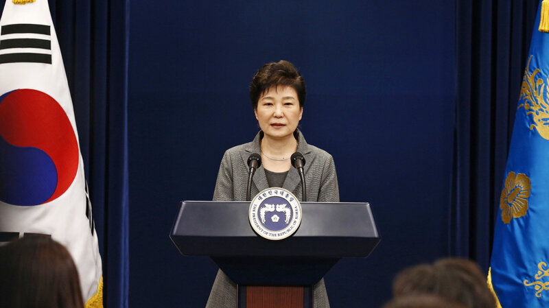 South Korean President Park Geun-hye is shown during a Nov. 29 televised address. The country's first female leader was impeached on Friday. AP.