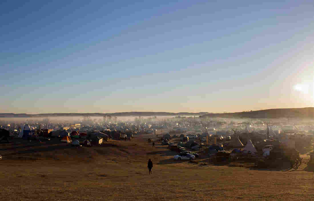 A view of the camps of protesters at the Standing Rock Reservation.