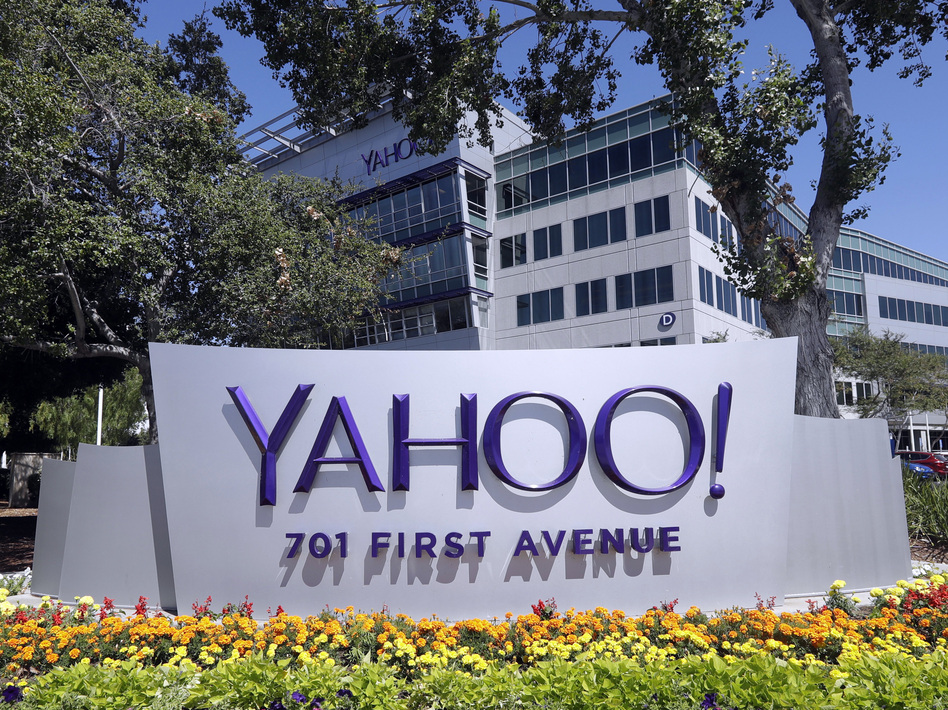 A Yahoo sign at the company's headquarters in Sunnyvale, Calif. The company has announced a hacking of user accounts that happened in 2013, but it says payment card information was not accessed. (Marcio Jose Sanchez/AP)