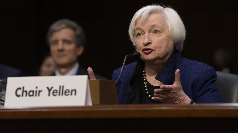 Federal Reserve Chair Janet Yellen is expected to discuss the central bank's decision on a benchmark interest rate Wednesday. She's seen here speaking on Capitol Hill last month. (Susan Walsh/AP)