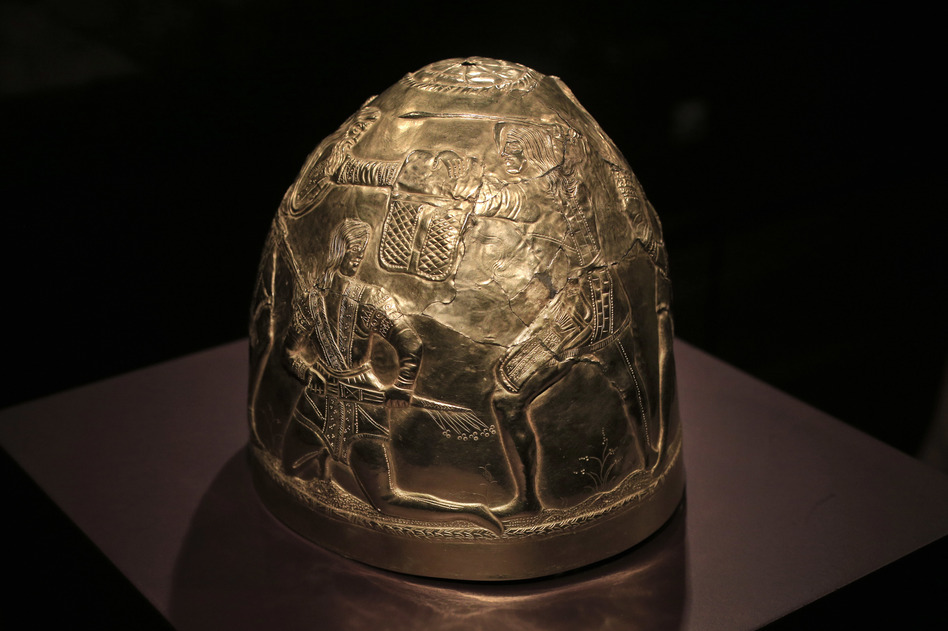 A Scythian gold helmet from the fourth century B.C., which is part of the collection that was in limbo after Russia annexed Crimea. (AP)