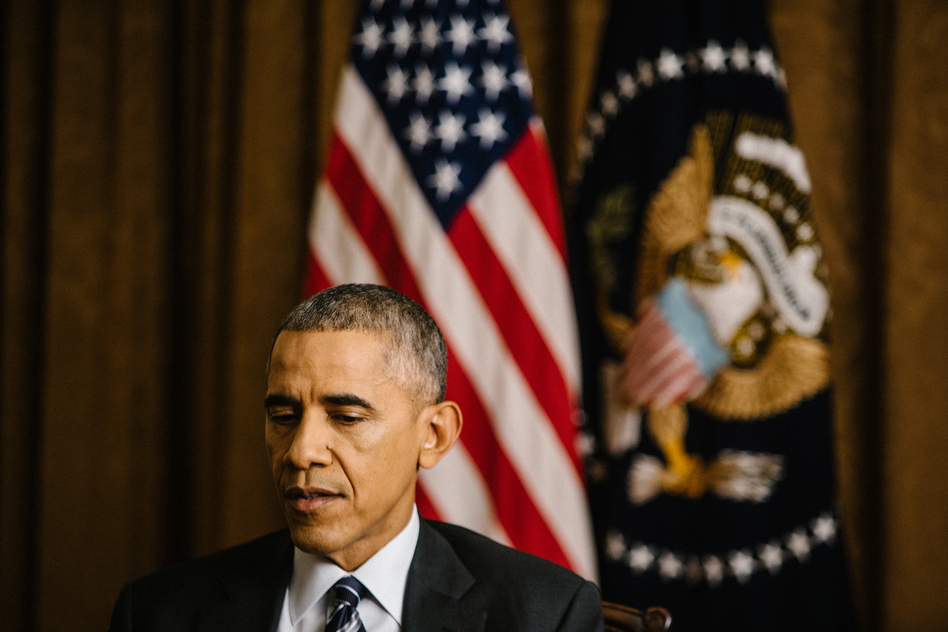 NPR's Steve Inskeep interviews President Obama in the Cabinet Room of the White House on Thursday. (Ariel Zambelich/NPR)