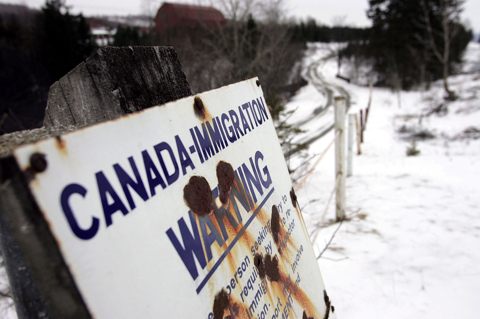 A sign marks the border between Canada and the U.S. near Beecher Falls, Vt. (Joe Raedle/Getty Images)