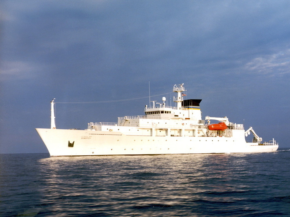 A Navy file photo shows T-AGS 60 Class Oceanographic Survey Ship, USNS Bowditch. The Navy says the ship's mission includes oceanographic sampling and data collection and the handling, monitoring and servicing of remotely operated vehicles (ROVs), among other things. (U.S. Navy)