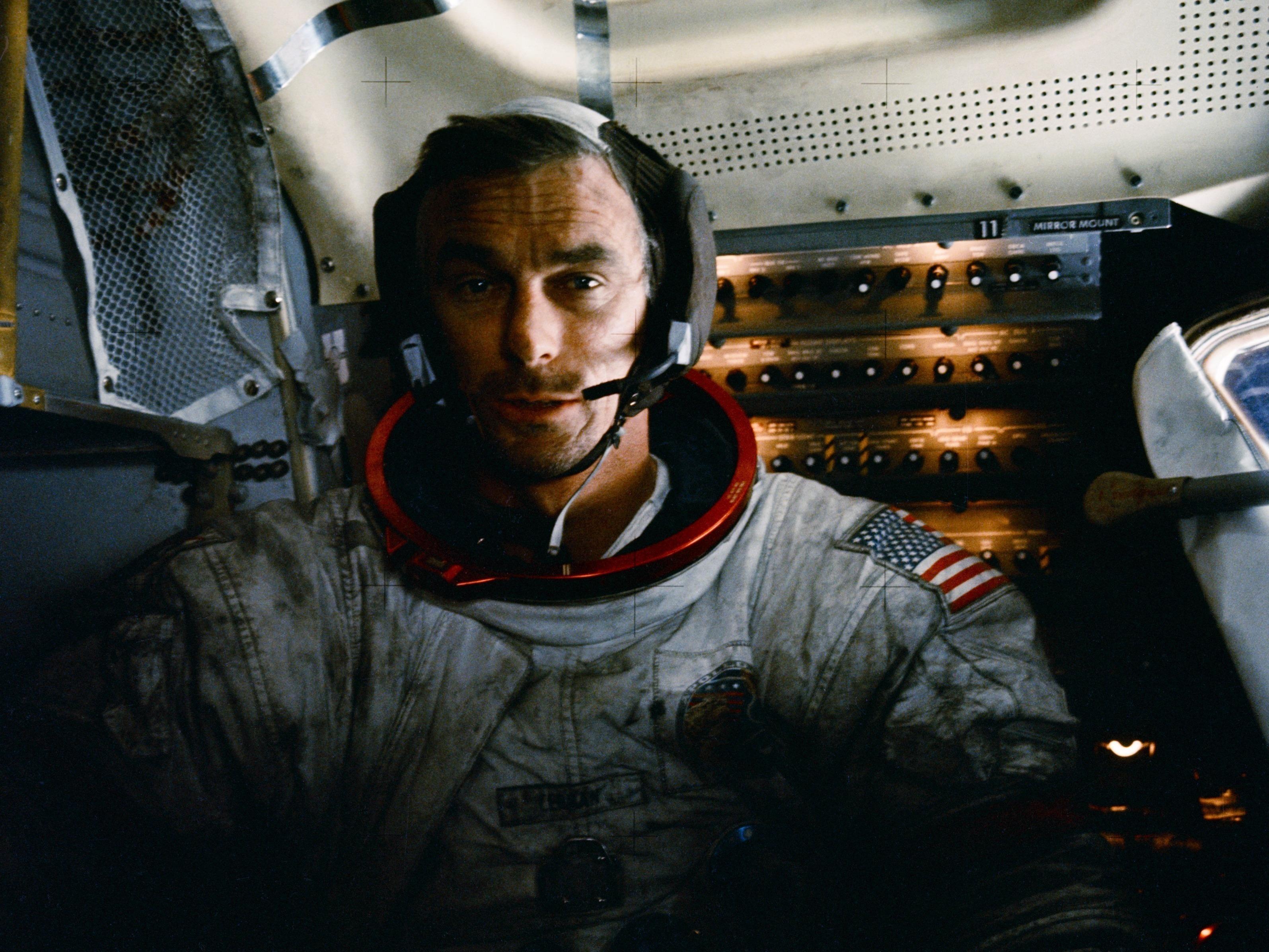 Gene Cernan in the Apollo 17 lunar module after one of three moonwalks.(NASA)