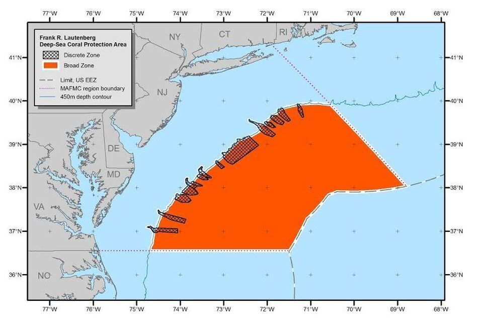 Atlantic ocean area the size of virginia protected from for Deep sea fishing va beach