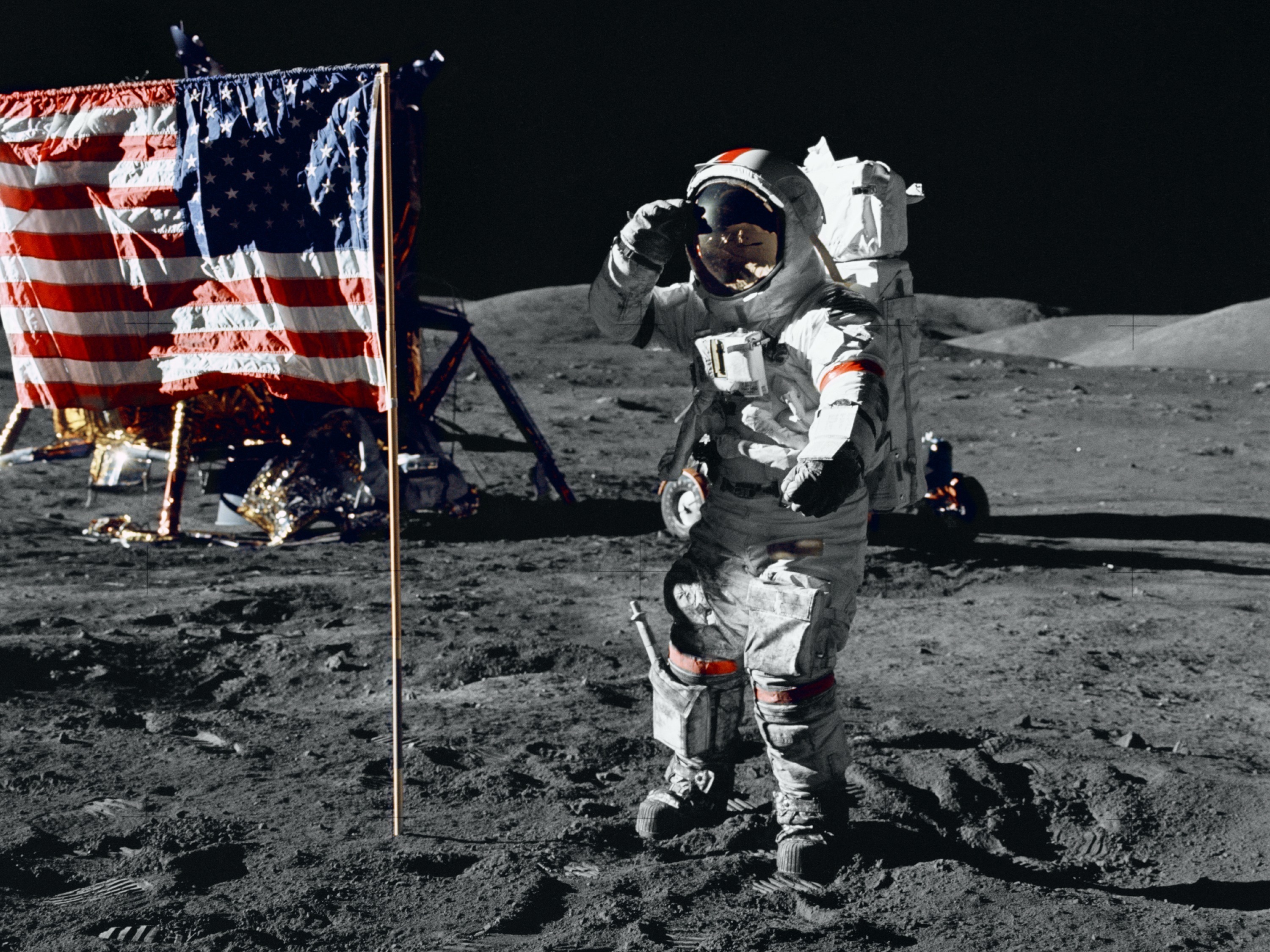 Astronaut Gene Cernan salutes the U.S. flag during his moonwalk in 1972. No one else has been there since Apollo 17 left. (NASA)