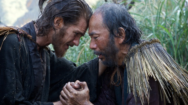 Shinya Tsukamoto (right) plays Christian convert Mokichi and Andrew Garfield plays Father Rodrigues, a Jesuit priests who has traveled to Japan in search of his mentor.