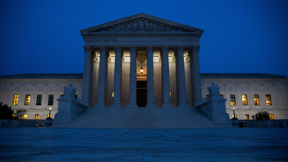 The Supreme Court, pictured on election night. Republican President-elect Donald Trump now stands to reshape the court in his image, potentially for a generation. (Zach Gibson/Getty Images)