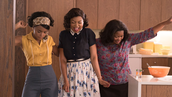 Mary Jackson (Janelle Monae, left), Katherine Johnson (Taraji P. Henson) and Dorothy Vaughan (Octavia Spencer) in Hidden Figures.