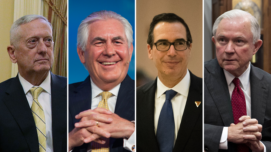 From left: Retired Marine Gen. James Mattis, former Exxon Mobil CEO Rex Tillerson, Steve Mnuchin and Sen. Jeff Sessions have all been nominated to high-profile positions in President-elect Trump's Cabinet. (Alex Wong/Getty Images; F. Carter Smith/Bloomberg via Getty Images; Drew Angerer/Getty Images; Andrew Harrer/Bloomberg via Getty Images)