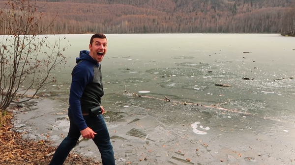 YouTuber Cory Williams reacts to the strange sound made by his local frozen lake.