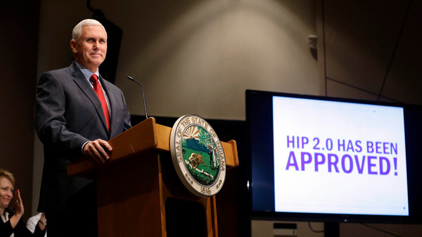 Indiana Gov. Mike Pence announces in 2015 that the federal Centers for Medicaid and Medicare Services has approved the state