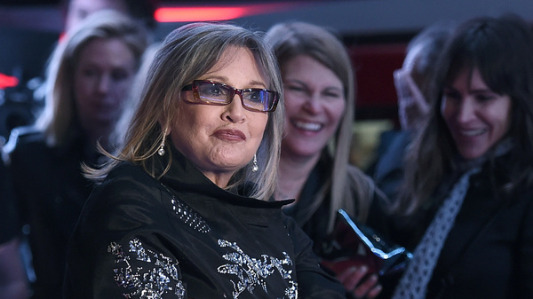 Carrie Fisher, seen here at the world premiere of Star Wars: The Force Awakens in 2015, has reportedly had a heart attack.
