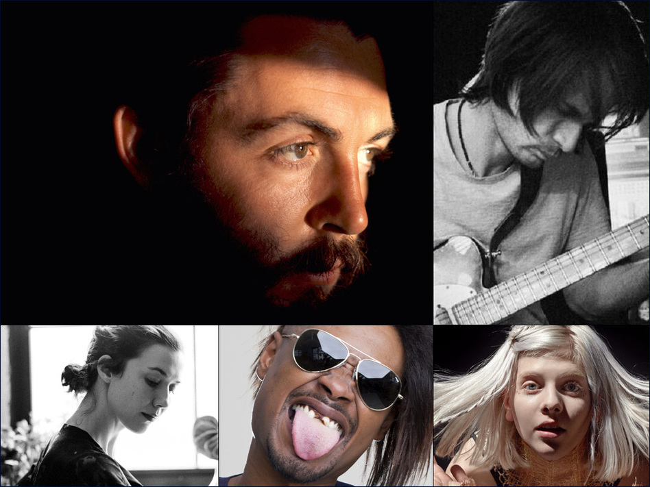 Clockwise from upper left: Paul McCartney, Jonny Greenwood, Aurora, Danny Brown, Lisa Hannigan