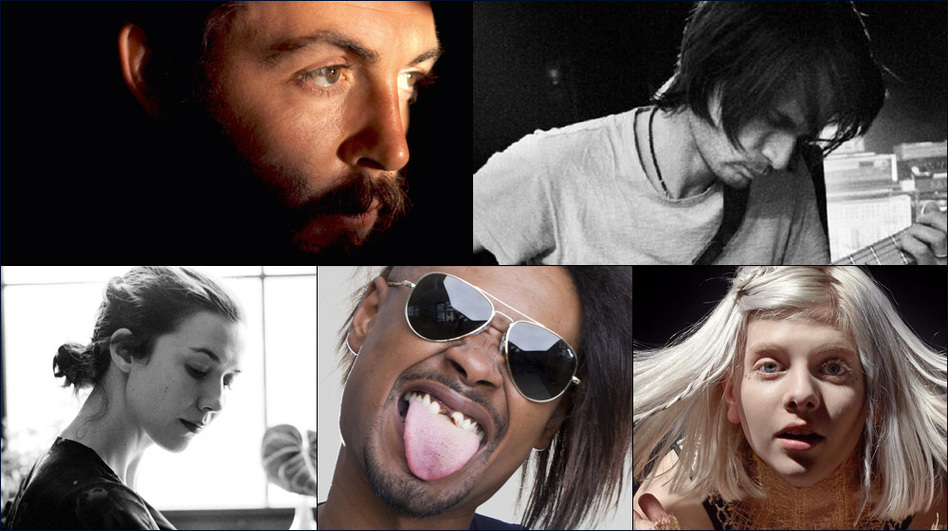 Clockwise from upper left: Paul McCartney, Jonny Greenwood, Aurora, Danny Brown, Lisa Hannigan (Courtesy of the artists )